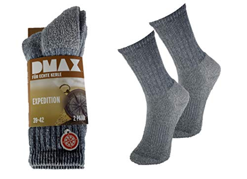 DMAX 6 Paar Expedition Wandersocken für Damen und Herren (43-46, Beige-Blau)