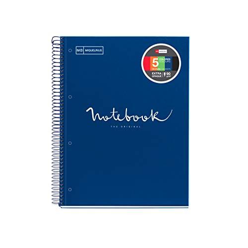 Miquelrius - Cuaderno Espiral Microperforado, Cubierta Polipropileno Translúcido, Tamaño A4 210 x 297 mm, 4 taladros, 120 Hojas de 90 g/m² y 5 Franjas de Color, Cuadrícula de 5 x 5 mm, Color Marino