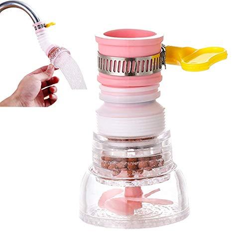 Küchenarmatur Kopf Sprayer Wassersparfilter Düse Dusche Wasserhahn Booster Beschleuniger für Küche, Bad (Rosa)