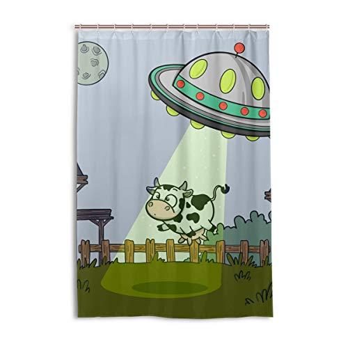 FANTAZIO Duschvorhang UFO Abduktion Kuh Polyester Badevorhang mit dicken C-förmigen Haken für Badezimmer, wasserdicht, 1 Stück, 121,9 x 182,9 cm