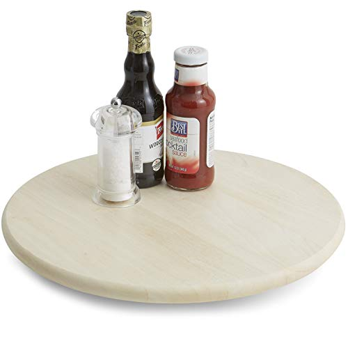Woodard & Charles Whitewash Wood Round Lazy Susan Turntable with Stainless Steel Ball Bearing Mechanism, 16'