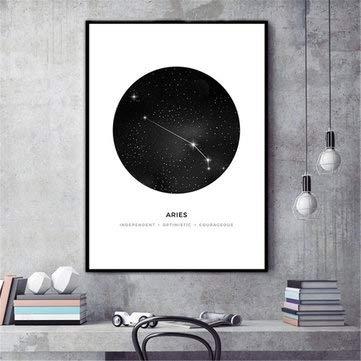 TuToy 30X40Cm Constellation Art Canvas Poster Geometrische Astrologie Malerei Tapeten - Widder