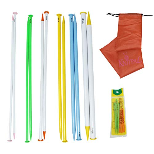 KnitPal 16-inch Long Straight Plastic Knitting Needles for Large Projects, Set of 6 Big Needles with US Sizes 10.75, 11, 13, 15, 17 and 19 (7,8,9,10,12 and 16mm) | with Knitting Guide
