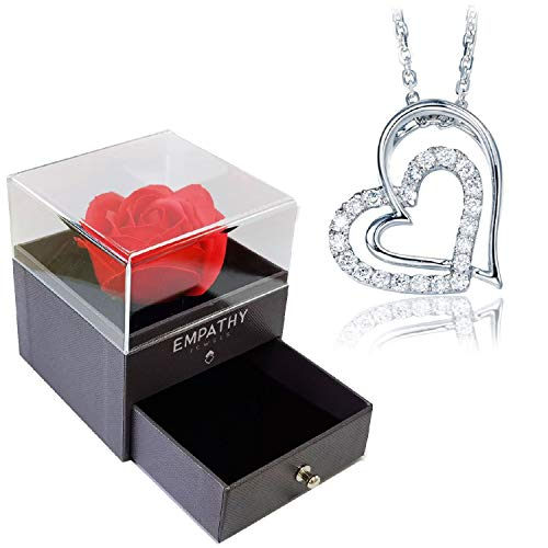 EMPATHY JEWELS Colgante Mujer Corazon Plata De Ley 925, regalo romántico para ella – Regalos originales para mujer joven con Rosa Roja eterna para aniversario.