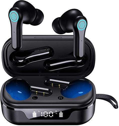 Bluetooth Kopfhörer in Ear Kabellos Kopfhörer [Upgrade V5.1 ]Deep Bass Sport Wireless Kopfhörer 30H Spielzeit USB-C Quick Charge Touch Control CVC 8.0 In Ear Earbuds IPX7 TWS Ohrhörer mit Mic, Leicht