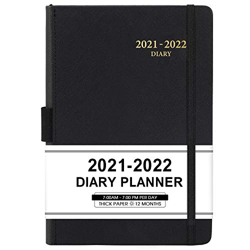 """2021-2022 Appointment Book & Planner - Daily Hourly Planner 2021-2022 from Jul 2021 - Jun 2022, 5.75"""" X 8.25"""", 60-Minute Interval, Faux Soft Leather Cover, Premium Paper with Pen Holder, Inner Pocket, Black"""