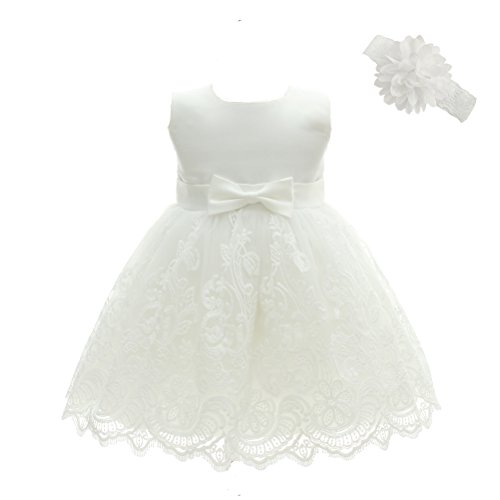 Moon Kitty Baby Girls Embroideries Baptism Dresses Christening Special Occasions Gown for Baby Girl White 3M(2-5Months)