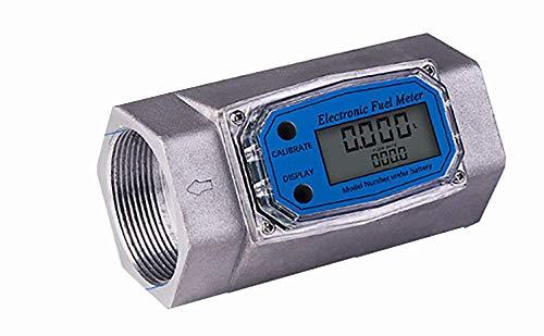 Epidioxi Turbine Flow Meter Electronic Digital Flow-Meter Stainless Steel Liquid Water Diesel Gasoline Methanol Kerosene Oil (2 inch Internal Thread Gauge)