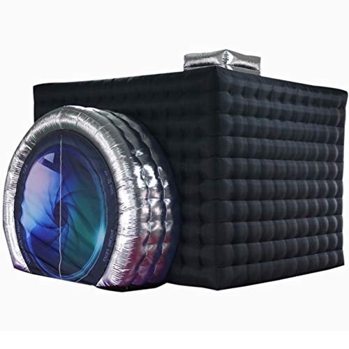SAYOK Inflatable Photo Booth Enclosure(External Black & Internal White  11.5x9.2x8.2ft) Camera Shaped Inflatable Cube Tent with Blower  Photo Booth Backdrop for Wedding  Event  Show  Exhibition