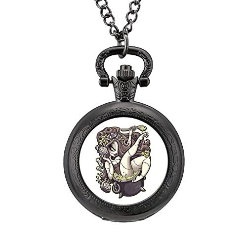 懐中時計 ペンダント ワームのワームスープ ポケットウォッチ チェーン付き 文字盤 腕時計 レトロ柄 クオーツ かいちゅう時計 蓋付き かわいい 見やすい 高耐久性 シンプル レトロデザイン 男女兼用 プレゼントワームのワームスープ