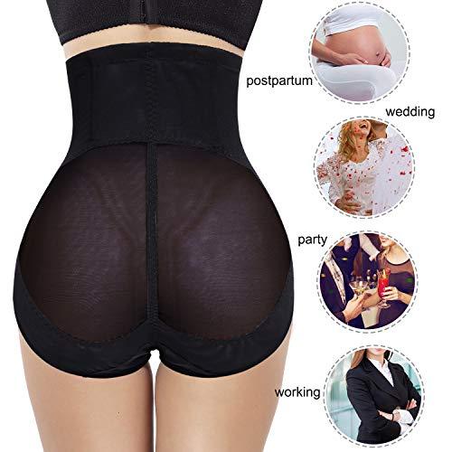 Gotoly Women Butt Lifter Shapewear Hi-Waist Panty Double Tummy Control Knickers Waist Trainer Body Shaper (Black, XX-Large)