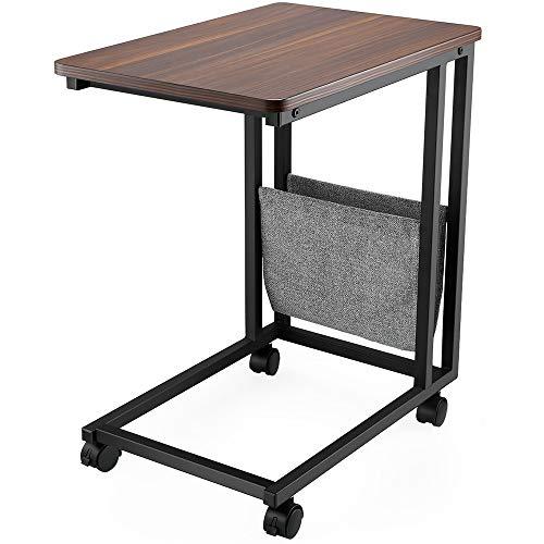 FAMIROSA Mesa Auxiliar con Ruedas para sofá Mesa Lateral Café Comidas Ordenador iPad Estructura de Metal Estilo Retro 50X35X58.5CM