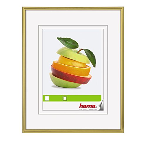 Hama Bilderrahmen Sevilla (30 x 40 cm, Mit Passepartout 20 x 27 cm, Hochwertiges Glas, Kunststoff Rahmen, Zum Aufhängen) gold