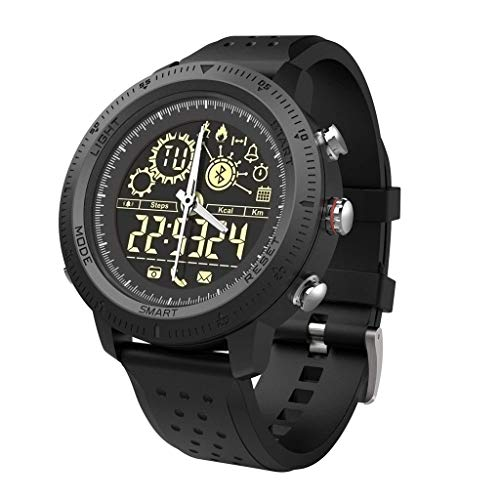 C-ET Hohe Qualität,wasserdicht, Herren-Quarzuhr mit analogem Zifferblatt und schwarzer Bluetooth-Smart-Uhr, für Herren Damen Sport Activity Tracker, lässiges Armband, Kalorien-Schrittzähler, Stoppuhr,