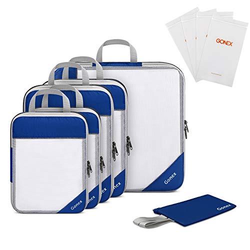 Gonex Organizador para Maletas Viaje Equipaje, Portatrajes Bolsas de Embalaje Almacenaje para Ropa Zapatos Cosméticos Cubos Ultraligeros Ahorro de Espacio Nylon Rip-Stop, (Kit de 10 pcs)