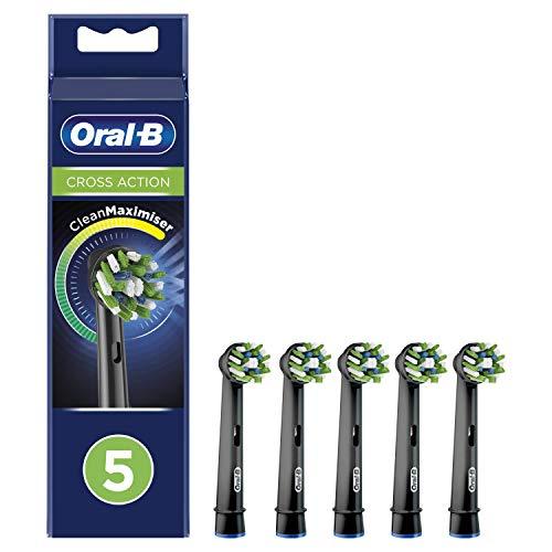 Oral-B CrossAction Testine di Ricambio per Spazzolino Elettrico Edizione Nera con Tecnologia CleanMaximiser, Confezione da 5 Pezzi