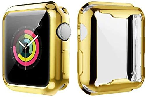 YaMiDe Apple Watch Series 4 / Series 5ケース ソフト タッチTPU時計ケース 99%高透光率 薄型 超軽量 指紋防止 全面保護 耐衝撃カバー 傷に強い 完璧なフィット感ウォッチシリーズ4/5(44mm) メッキフレーム