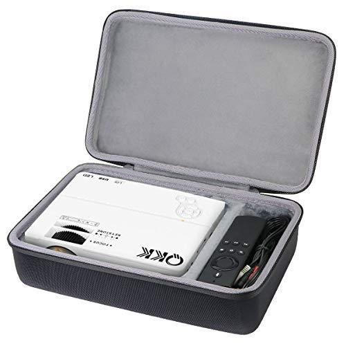 Co2CREA Étui de voyage rigide en EVA pour projecteur QKK /QKK AK-81 /Mini Projecteur ELEPHAS Vidéo Projecteur 4500 LED Portable Home Cinéma (étui uniquement)