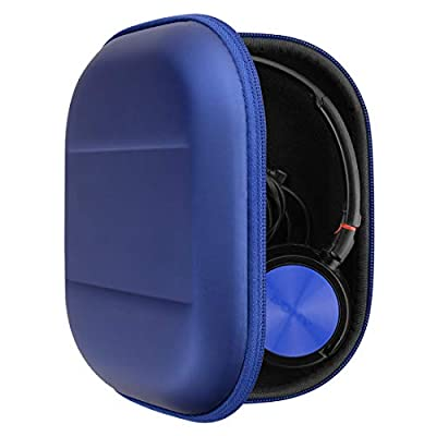 Geekria UltraShell Headphone Case for Sony MDR-ZX300, MDR-ZX310, XB200, MDR-ZX102DPV, MDR-ZX100, ZX110 Headphones, Protective Hard Shell Travel Carrying Bag with Room for Accessories (Blue PU) from Geekria