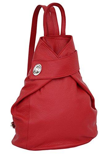 AMBRA Moda borsa a zaino da donna in vera pelle, zaino da città, zaino casual GL014 (rosso)