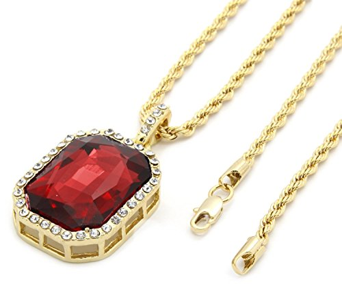 Mens 14k Gold Plated Iced Out Red Ruby Octagon Hip Hop Pendant with 3mm 24' Rope Chain M3