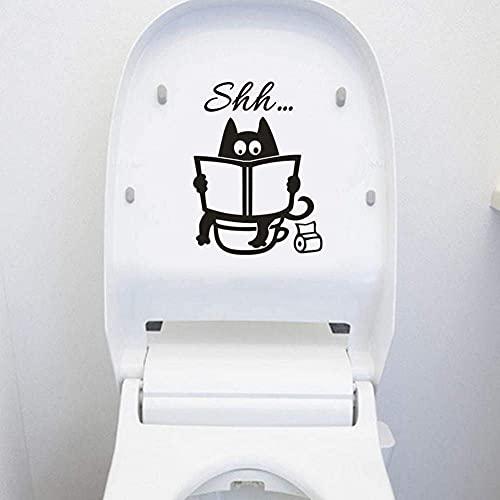 Papel Pintado Lindo Gato Shh Inodoro Pegatinas Arte Diseño DIY Decoración De Pared Extraíble 3D PVC Pegatina Para Casa Sala Dormitorio Baño Cocina Decoración