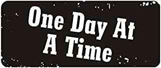Large 5'' Sticker - One Day At A Time Hard Hat Biker Helmet Stickers - Construction Toolbox, Hardhat, Lunchbox, Helmet, Mechanic & More