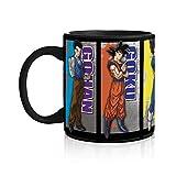 N\A Dragon Ball Super Saiyan Goku, Vegeta, Gohan, Beerus e whis Tazza da caffè [Base Nera] Tazza da caffè in Ceramica Anime, Tazza da tè/caffè Dbs/DBZ (con Licenza Ufficiale)