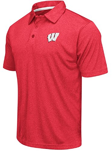 Colosseum Men's NCAA Heathered Trend-Setter Golf/Polo Shirt-Wisconsin Badgers-Heathered Cardinal-Large
