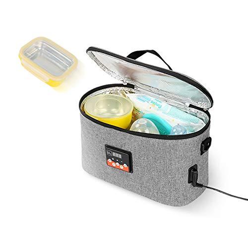 電気加熱ランチバッグ、2 in1フードウォーミングトート電気加熱ランチボックスフードヒーター家庭およびオフィスは、車のオフィスでの食品調理を再加熱するためのポータブルで折りたたみ可能なランチボックスを使用します旅行および家庭の台所