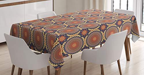 ABAKUHAUS Mandala Mantele, Moro Motif, Resistente al Agua Lavable Colores No Destiñen Personalizado, 140 x 200 cm, Multicolor