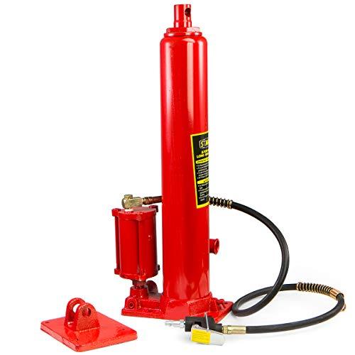 XtremepowerUS 8 Ton Air/Hydraulic Long Ram Jack Piston Ram 8-Ton Capacity Cherry Crane Shop Engine Hoist Lift, Red