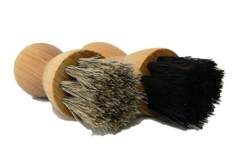 Valentino Garemi Shoe Brush Cream Applicator Set | Shine Polish Paste Jar Dauber | Horse Hair | Made in Germany