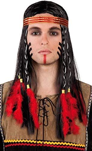 Adultes Hommes Far West Indien D'Amérique Costume Déguisement Perruque avec des Plumes