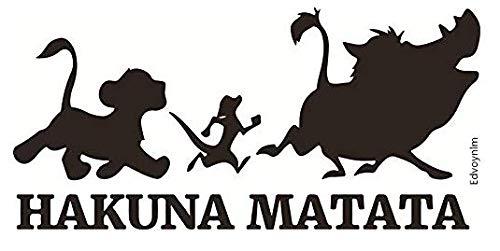 HK Distributors, Hakuna Matata Lion King Decal Vinyl Sticker for Cars, Trucks, SUVs, Vans, Walls, Laptop, Doors, Cups   Black   5.5' x 3'