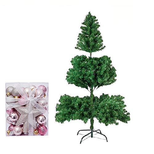 YOGANHJAT Árbol de Navidad Artificial Abeto Artificial Automontable C/Soporte Metálico Natural Blanco nevado Incl. Soporte para árbol de Navidad,Verde,120cm/3.9ft