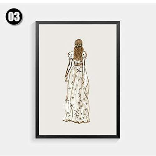 Geiqianjiumai Nordic kleding mode meisje linnen canvas kunstdruk poster schilderij decoratie wanddecoratie