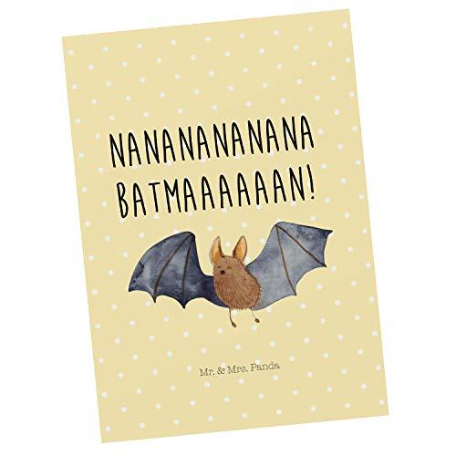 Mr. & Mrs. Panda Ansichtskarte, Einladung, Postkarte Fledermaus fliegend mit Spruch - Farbe Gelb Pastell