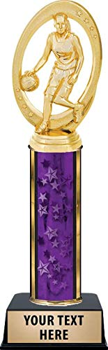 Crown Awards Basketball Champion Female Trophies, Personalized Purple Girls Basketball Trophy with Custom Engraving Prime