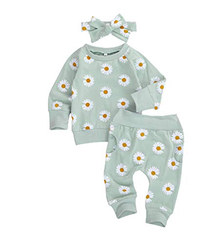 0-24M Flower Newborn Infant Baby Girl Clothes Set Long Sleeve Sweatshirts Tops Pants Outfits (Green, 12-18 Months)
