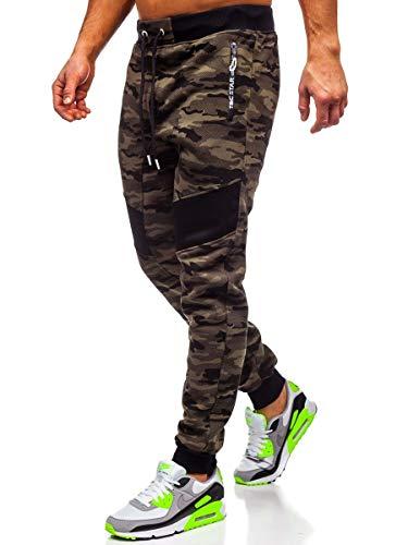 BOLF Herren Sporthose Trainingshose Jogginghose Sweathose Fitnesshose Jogpants Fußballhose Sweatpants Jogger Army Camo Tarnmuster Camouflage Military T&C Star TC873 Grün XXL [6F6]
