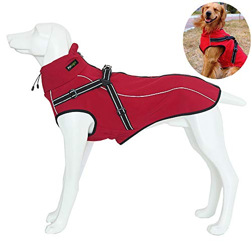Petsoigné Dog Jackets with Harness Warm Dog Coats Waterproof for Medium and Large Dogs with Safe Reflective Band (XS, Red)