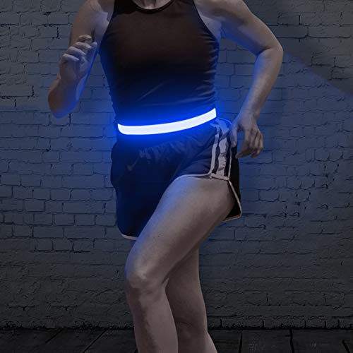 BSEEN LED Running Belt, USB Rechargeable Reflective Elastic Waistband, Adjustable Light up Sports Belt Suit for Men, Women& Kids, Super Bright Safety Gear for Running, Cycling, Jogging, Hiking (Blue)