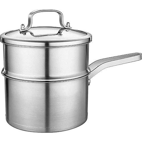 Kyman Dampfer-Topf Edelstahl-Milch-Dampfer Multi-Purpose Küche Haushalt Set for heiße Milch, Suppe und Dampfgarer (Silber) mit All folgenden Ausstattung (Farbe: Silber, Größe: 18cm)
