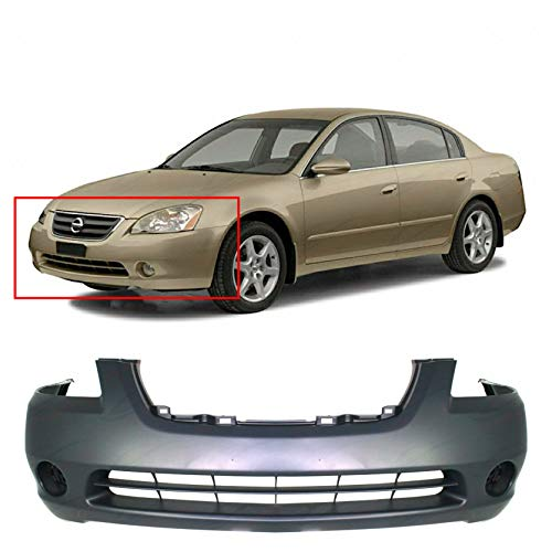 Front Plastic Bumper Cover Fascia For 2002-2004 Nissan Altima Base SE SL S Sedan 02-04. New, Primed and Ready for Paint. With Fog Light Holes. NI1000193 620228J040 2003