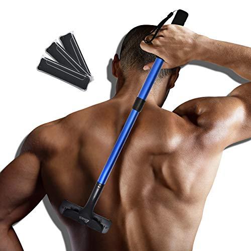 EASACE Rückenrasierer Herren-Rückenrasierer, Rückenrasierer mit Längenverstellbar Griff 54.5cm, Gebogen DIY Rückenhaar Rasier Schmerzlose mit 3 Dauerhaft Rasierklingen (Blau)
