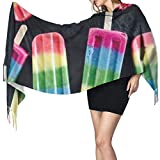 Bufanda de mantón Mujer Chales para, Rainbow Postres Moda para mujer Mantón largo Invierno Cálido Bufanda grande Bufanda de cachemira