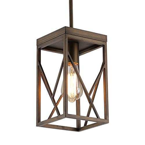 Rustic Antique Gold Pendant Light with Metal Cage, One-Light...