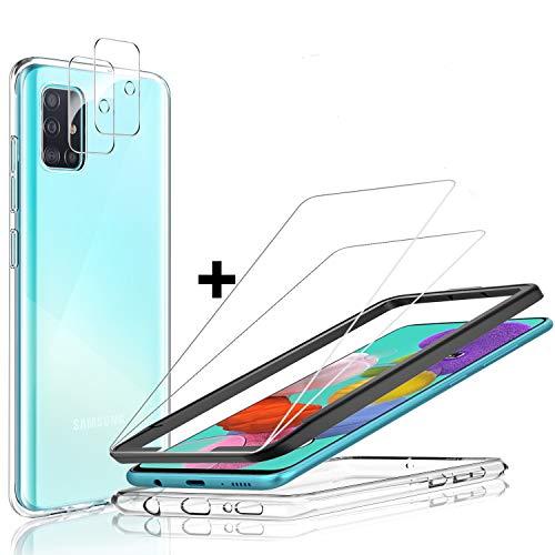 Yocktec Custodia e Proteggi Schermo Samsung Galaxy A51, Cover in Gel TPU Morbido e Proteggi Schermo in Vetro temperato Trasparente HD di durezza 9H