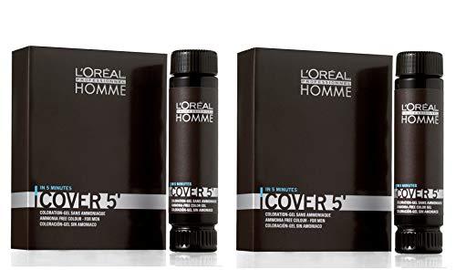 L'Oréal Professionnel Lot de 2 flacons de 50 ml pour homme Cover 5 No 5 Châtain clair